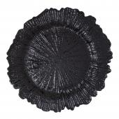 "Plastic Reef Charger Plate 13"" - Black - 24 Pieces"