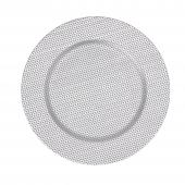 "Beaded Plastic Charger Plate 13"" - Silver- 24 Pieces"