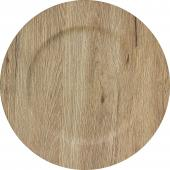 "Faux Wood Plastic Charger Plate 13"" - Natural - 24 Pieces"