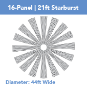 16-Panel Starburst 21ft Ceiling Draping Kit (44 Feet Wide)