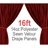 "14oz. Polyester Velour - Sewn Drape Panel w/ 4"" Rod Pockets - 16ft"
