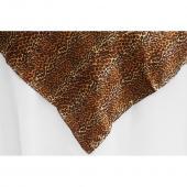"Sleek Satin Tablecloths 54"" Square - Leopard Design"