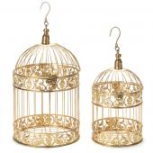 Metal Bird Cage 2 Piece Set - Gold