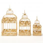 Metal Square Hexagon Gold Wedding Birdcage - Sets of 3 - Gold