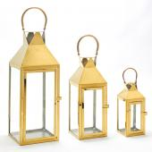 Metal Lanterns 3 Piece Set - Gold