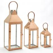 Metal Lanterns 3 Piece Set - Rose Gold