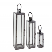 DECOSTAR™ 3 Piece Metal Lanterns Set - Black