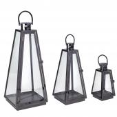 DECOSTAR™ 3 Piece Metal Lanterns Set - Black