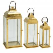 DecoStar™3 Piece Set Metal Lanterns - Gold