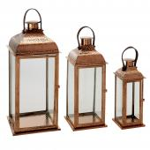 DECOSTAR™ 3 Piece Set Metal Lanterns - Rose Gold