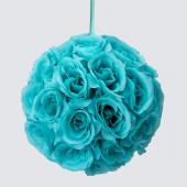 "Decostar™ Rose Silk Flower Pomander Kissing Ball 10""  - 12 Pieces - Aqua"