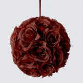 "Decostar™ Rose Silk Flower Pomander Kissing Ball 10""  - 12 Pieces - Brown"