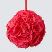 "Decostar™ Rose Silk Flower Pomander Kissing Ball 10""  - 12 Pieces - Coral"