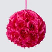 "Decostar™ Rose Silk Flower Pomander Kissing Ball 10""  - 12 Pieces - Fushia"
