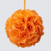 "Decostar™ Rose Silk Flower Pomander Kissing Ball 10""  - 12 Pieces - Orange"