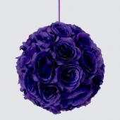 "Decostar™ Rose Silk Flower Pomander Kissing Ball 10""  - 12 Pieces - Purple"