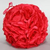"Decostar™ Rose Silk Flower Pomander Kissing Ball 10""  - 12 Pieces - Red"