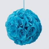 "Decostar™ Rose Silk Flower Pomander Kissing Ball 10""  - 12 Pieces - Turquoise"