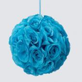 "Decostar™ Rose Silk Flower Pomander Kissing Ball 10""  - 12 Pieces - Turquoise"