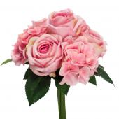 "Decostar™ Artificial Rose & Hydrangea Bouquet 13 X 8""  - 36 Pieces - Pink"