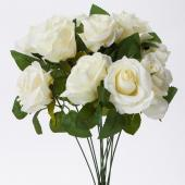 "Decostar™ Artificial 12 Roses Bouquet  17½"" - 24 Pieces - White"