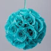 "Decostar™ Rose Silk Flower Pomander Kissing Ball 12"" - 10 Pieces - Aqua"