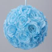 "Decostar™ Rose Silk Flower Pomander Kissing Ball 12"" - 10 Pieces - Blue"