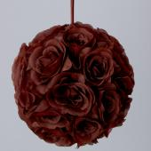 "Decostar™ Rose Silk Flower Pomander Kissing Ball 12"" - 10 Pieces - Brown"