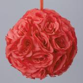 "Decostar™ Rose Silk Flower Pomander Kissing Ball 12"" - 10 Pieces - Coral"
