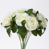 "Decostar™ Artificial 12 Rose Bouquet 15½"" - 24 Pieces - Ivory"