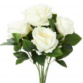 "Decostar™ Artificial Deluxe Elegant Rose Bundle 21½"" - 6 Pieces - Cream"