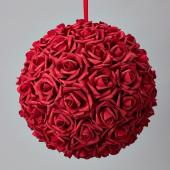 "Decostar™ Foam Rose Ball 14""  - 4 Pieces - Red"