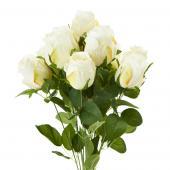 "Decostar™ Artificial Rose Branch 10 x 18¼""- 12 Pieces - White"