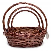 Decostar™ Wicker Baskets 3pc/set  - 4  Sets (12 Pieces) - Brown
