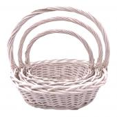 Decostar™ Wicker Baskets 3pc/set - 4 Sets (12 Pieces) - White
