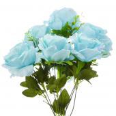 "19"" Aqua Artificial Flower Bouquet - 12 Bunches"