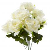 "19"" White Artificial Flower Bouquet - 12 Bunches"