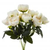 Decostar™ Artificial Flower Bouquet - Soft White -Peony - 12 Pieces
