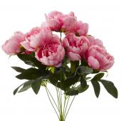 Decostar™ Artificial Flower Bouquet -Light  Pink - Peony - 12 Pieces