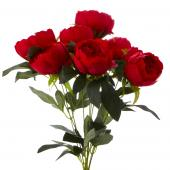 Decostar™ Artificial Flower Bouquet - Red -Peony - 12 Pieces