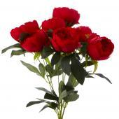 Decostar™ Artificial Flower Bouquet - Red -Peony - 12 Pieces