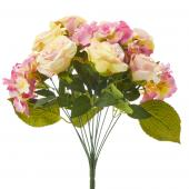 Artificial Rose & Hydrangea Bouquet - 12 Pieces - Ivory/Pink