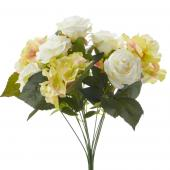 Artificial Rose & Hydrangea Bouquet - 12 Pieces - White/Green
