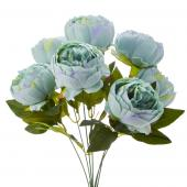 "Artificial English Rose Bunch 18½"" - 24 Pieces - Aqua"