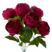 "Artificial English Rose Bunch 18½"" - 24 Pieces - Burgundy"