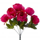 "Artificial English Rose Bunch 18½"" - 24 Pieces - Fuschia"