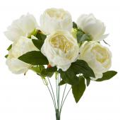 "Artificial English Rose Bunch 18½"" - 24 Pieces - Ivory"