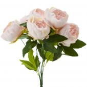 "Artificial English Rose Bunch 18½"" - 24 Pieces -Ivory/Pink"