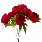 "Artificial English Rose Bunch 18½"" - 24 Pieces - Red"