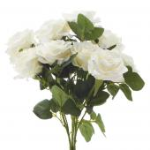 "Artificial Rose Bouquet 17½"" - 18 Pieces - White"